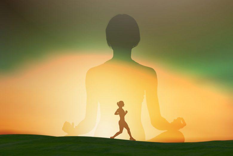 Woman running and woman meditating